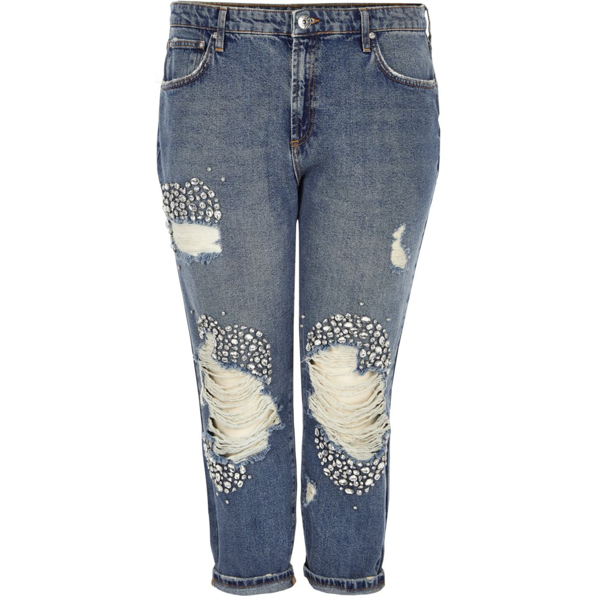 Plus blue embellished ripped boyfriend jeans