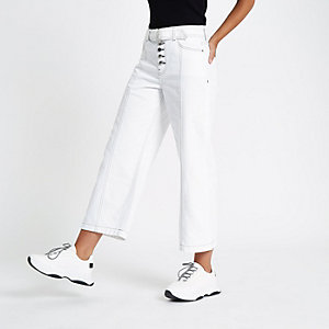 White belted denim culottes