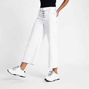 Jupe-culotte en denim blanche à ceinture