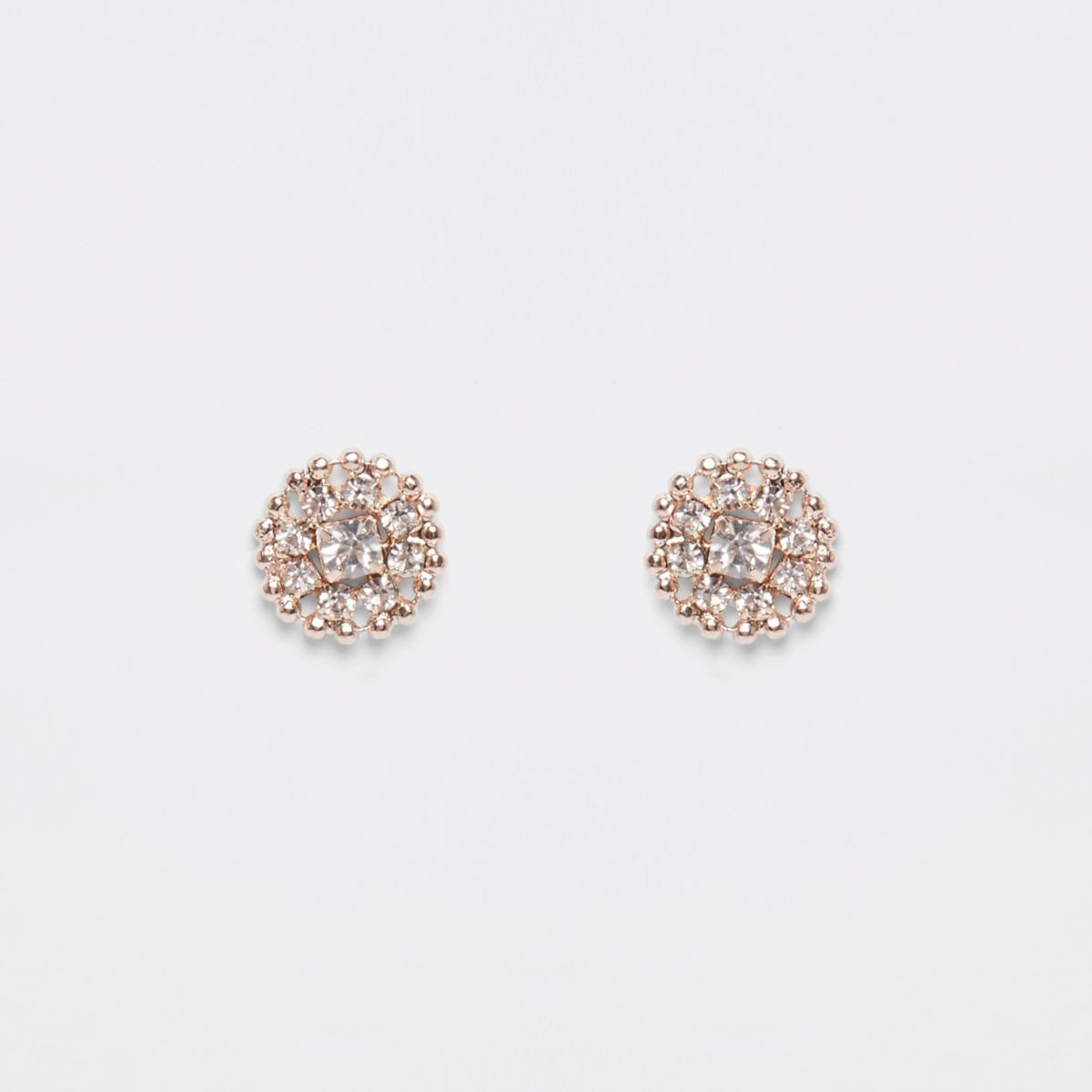 Rose gold tone diamante stud earrings