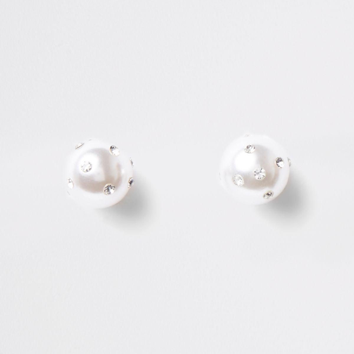 White large faux pearl diamante stud earrings
