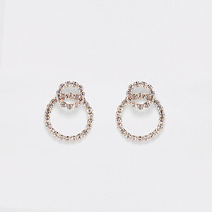 Gold tone interlink ring stud earrings