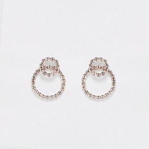 Gold tone interlink ring stud earrings