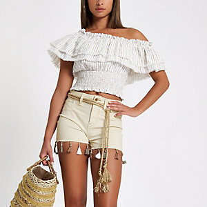 Cream high rise tassel trim denim hot pants