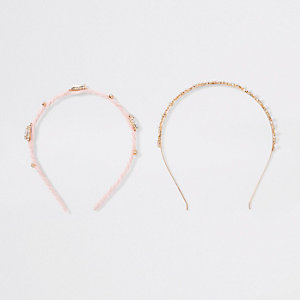 Pink diamante headband multipack