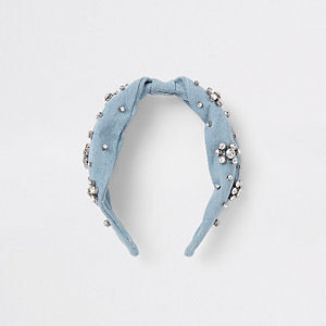 Blue denim rhinestone embellished headband
