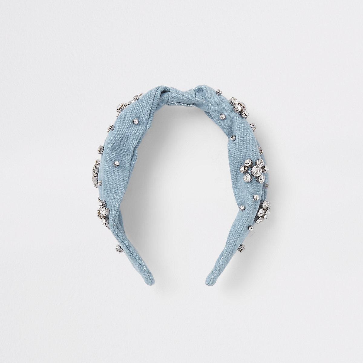 Blue denim rhinestone embellished headband
