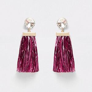Pink diamante tinsel drop stud earrings