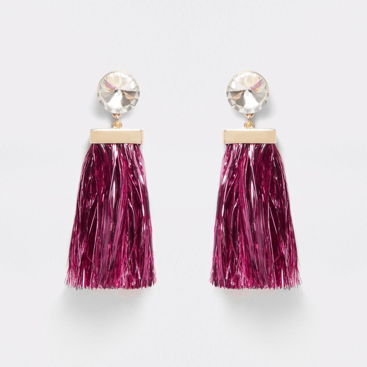 Pink rhinestone tinsel drop stud earrings