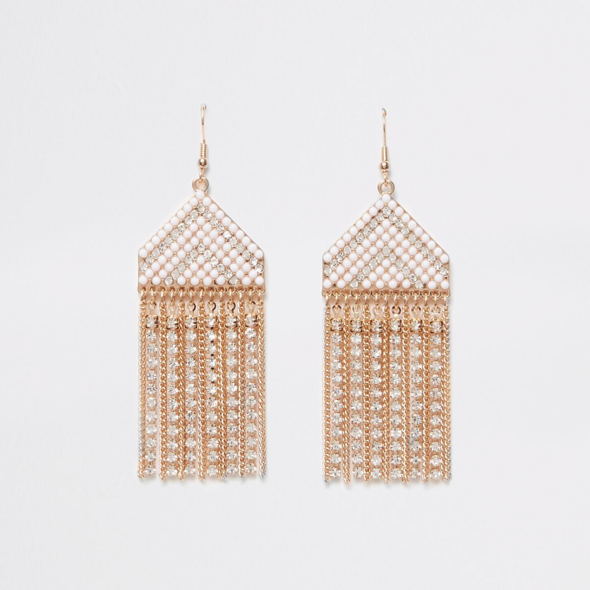 Gold tone seadbead drop earrings