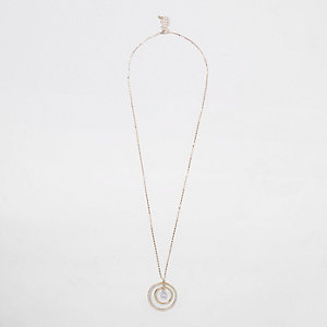 Gold tone circle cubic zirconia necklace