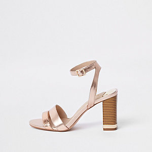 Rose gold metallic block heel sandals