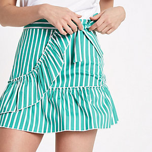 Green stripe print frill wrap mini skirt