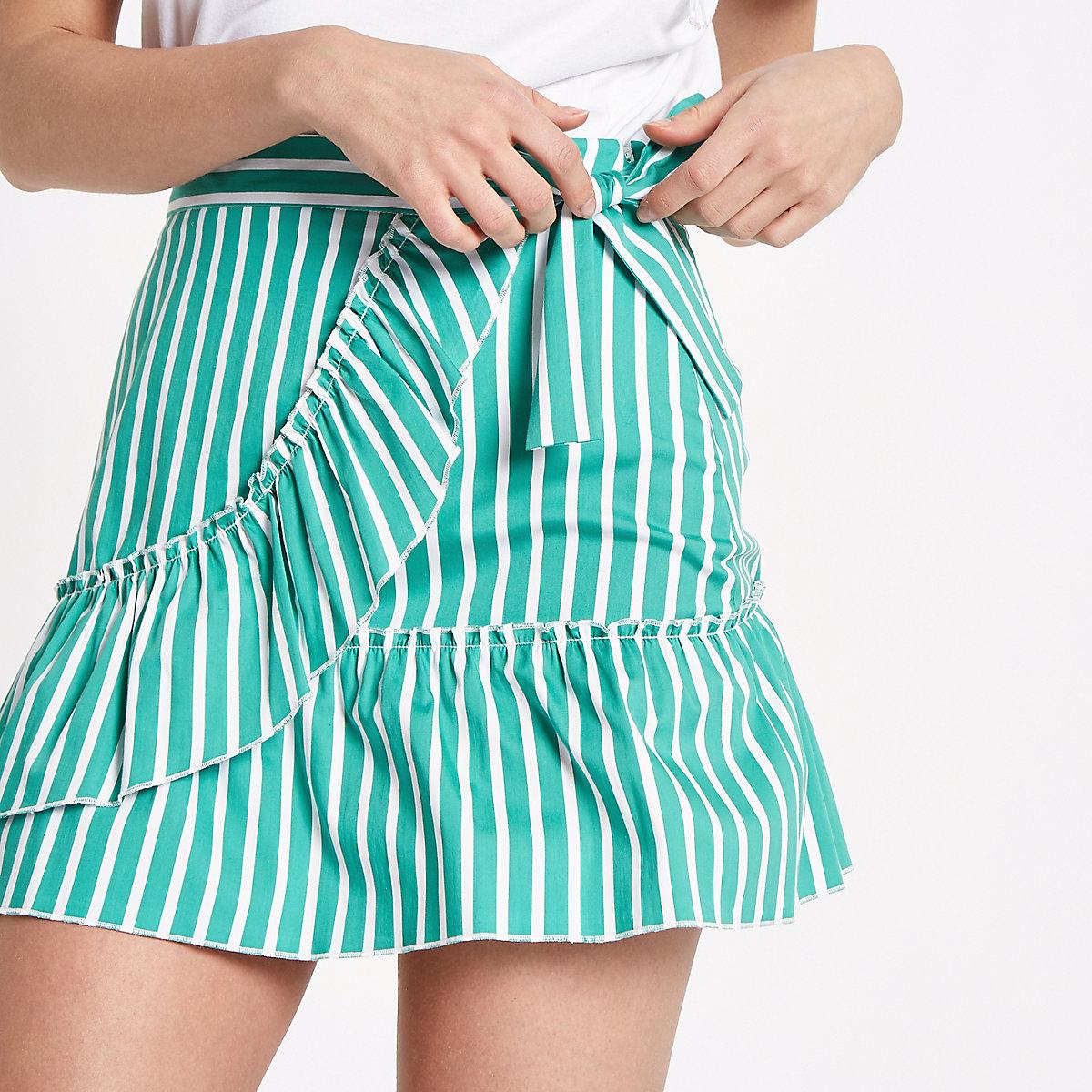 Green stripe print frill wrap mini skirt