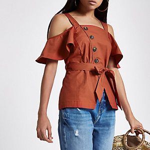 Petite orange button front bardot top