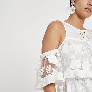 White floral lace bardot top