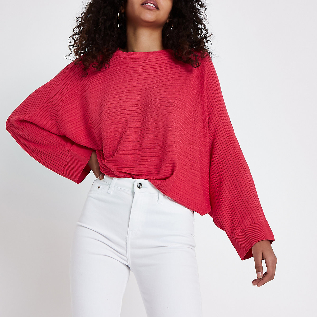 Pink ribbed long sleeve knitted sweater