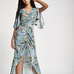 Blauwe maxi-jurk met bloemenprint en ruches aan de voorkant