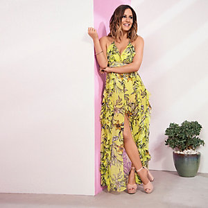 Caroline Flack - Gele gebloemde maxi-jurk