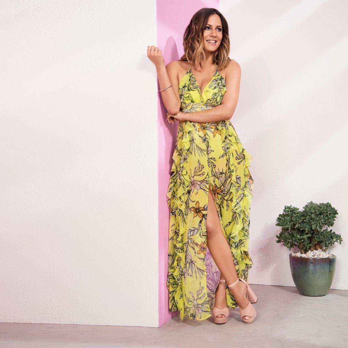 Yellow Caroline Flack floral maxi dress