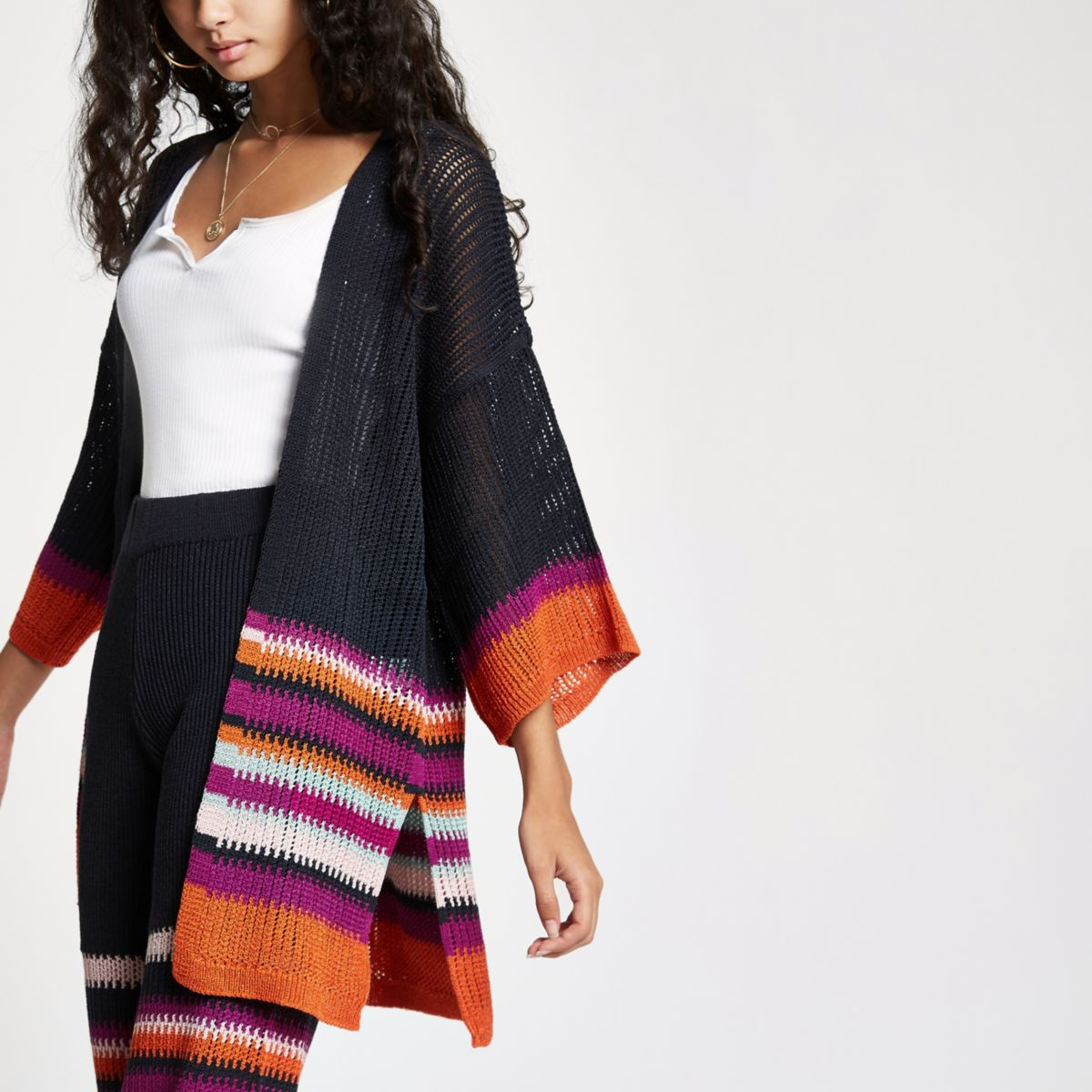 Navy stripe knit kimono sleeve cardigan