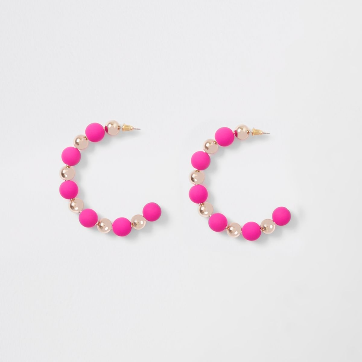 Pink rubberised ball hoop earrings