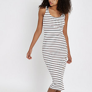 Cream stripe asymmetric button bodycon dress