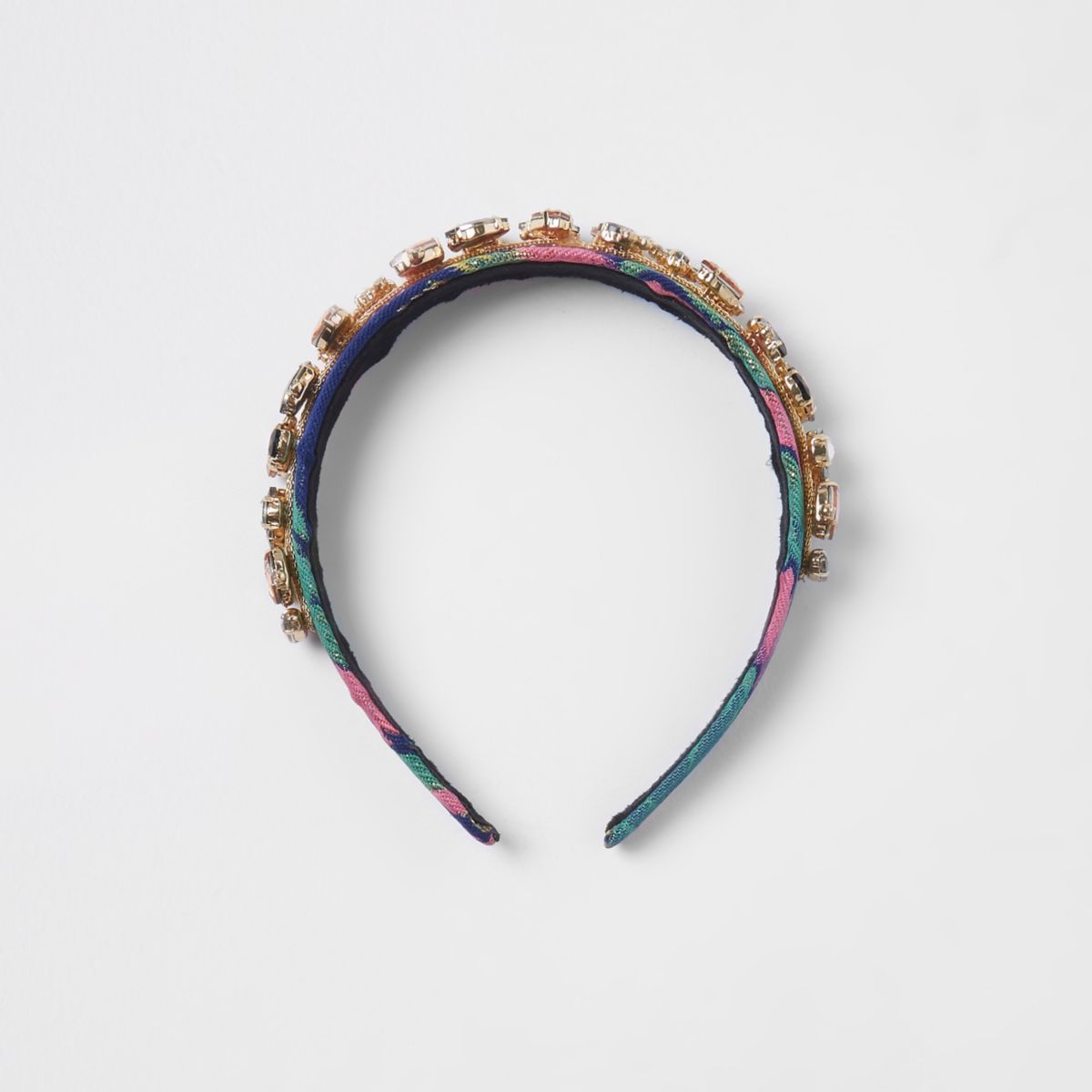 Pink floral gem stone headband