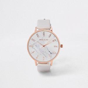 Horloge met grijs bandje en wijzerplaat met marmereffect