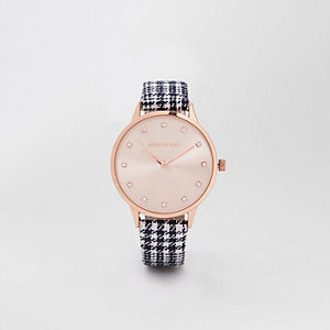 Black rose gold tone check watch