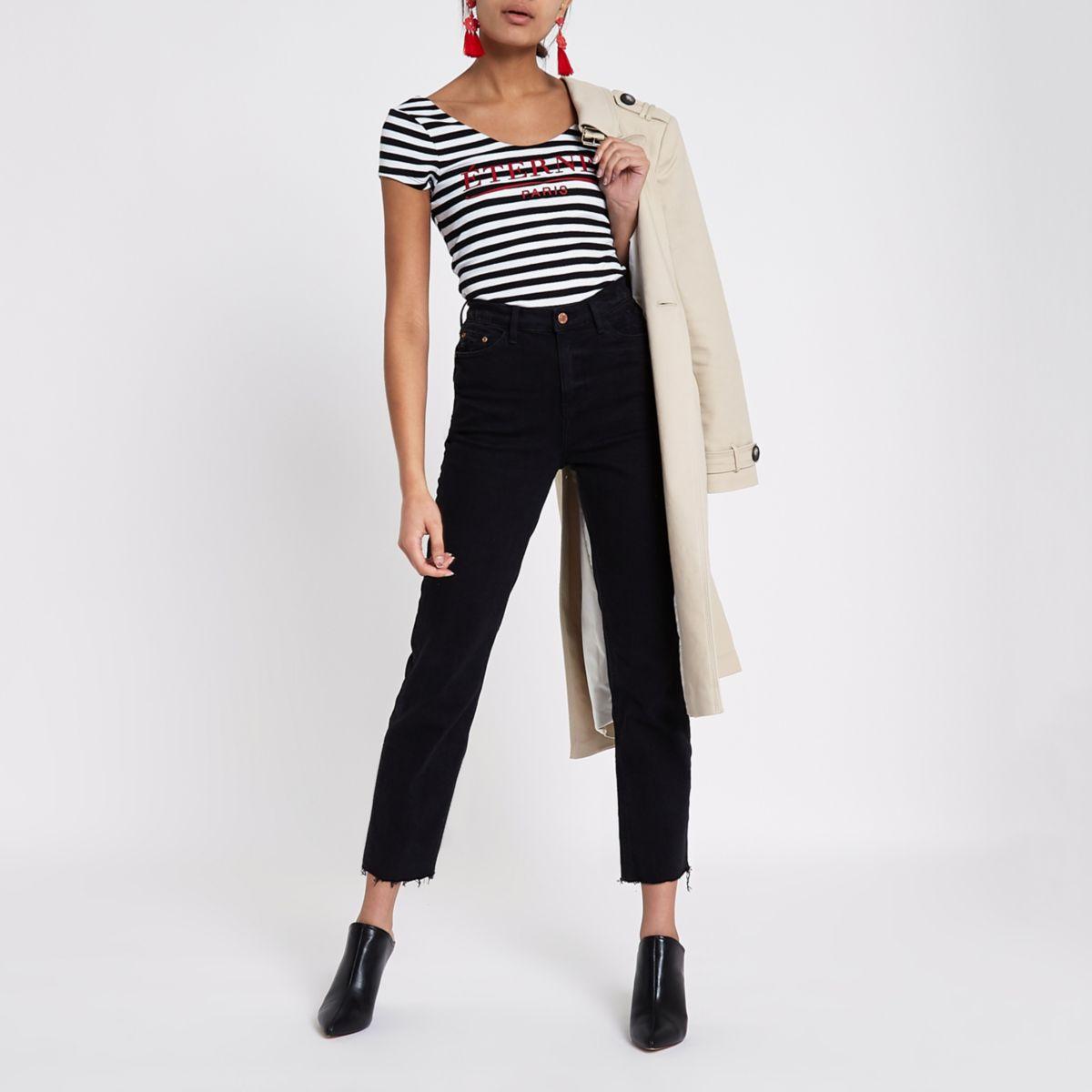 Black stripe 'eternel' scoop neck bodysuit