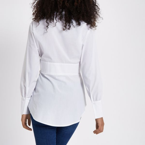 River Island - White popper wrap shirt - 4