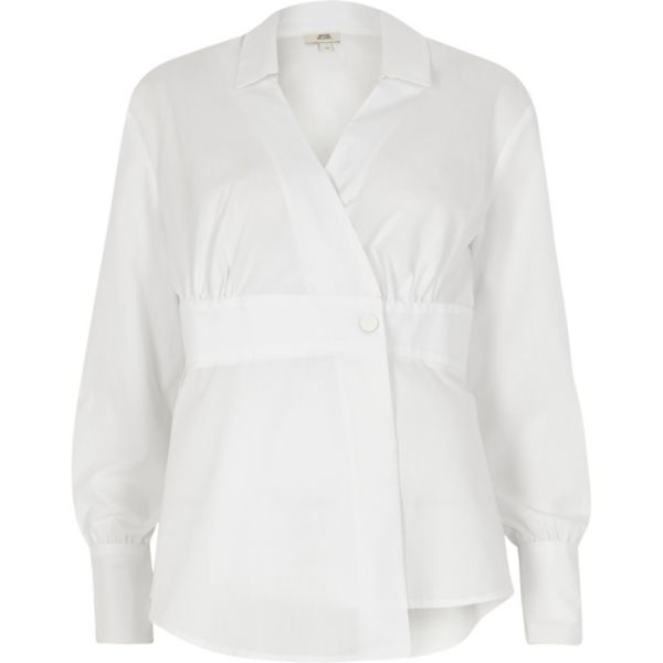 River Island - White popper wrap shirt - 5