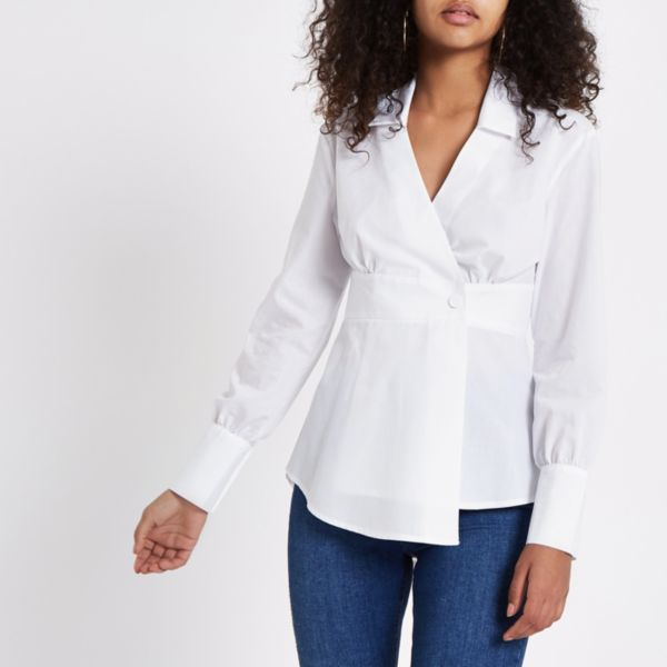 River Island - White popper wrap shirt - 2