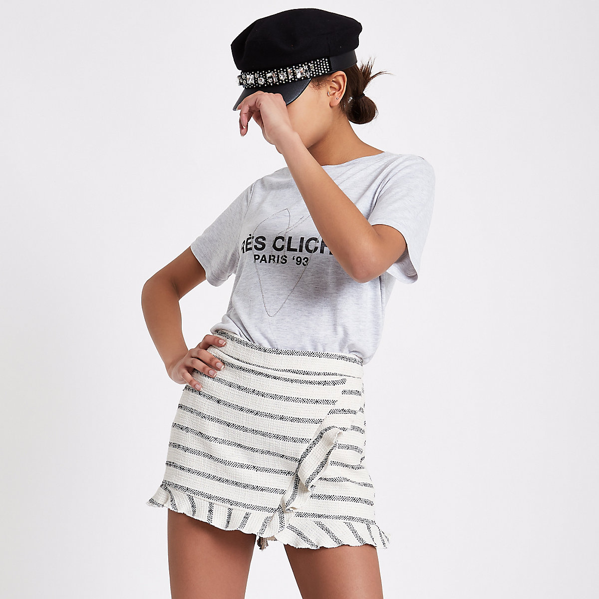 Cream metallic stripe tweed wrap frill skort