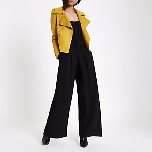 Black belted wide leg trousers
