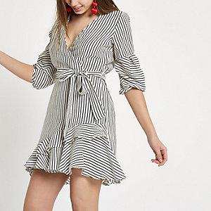 White stripe frill hem tie waist dress
