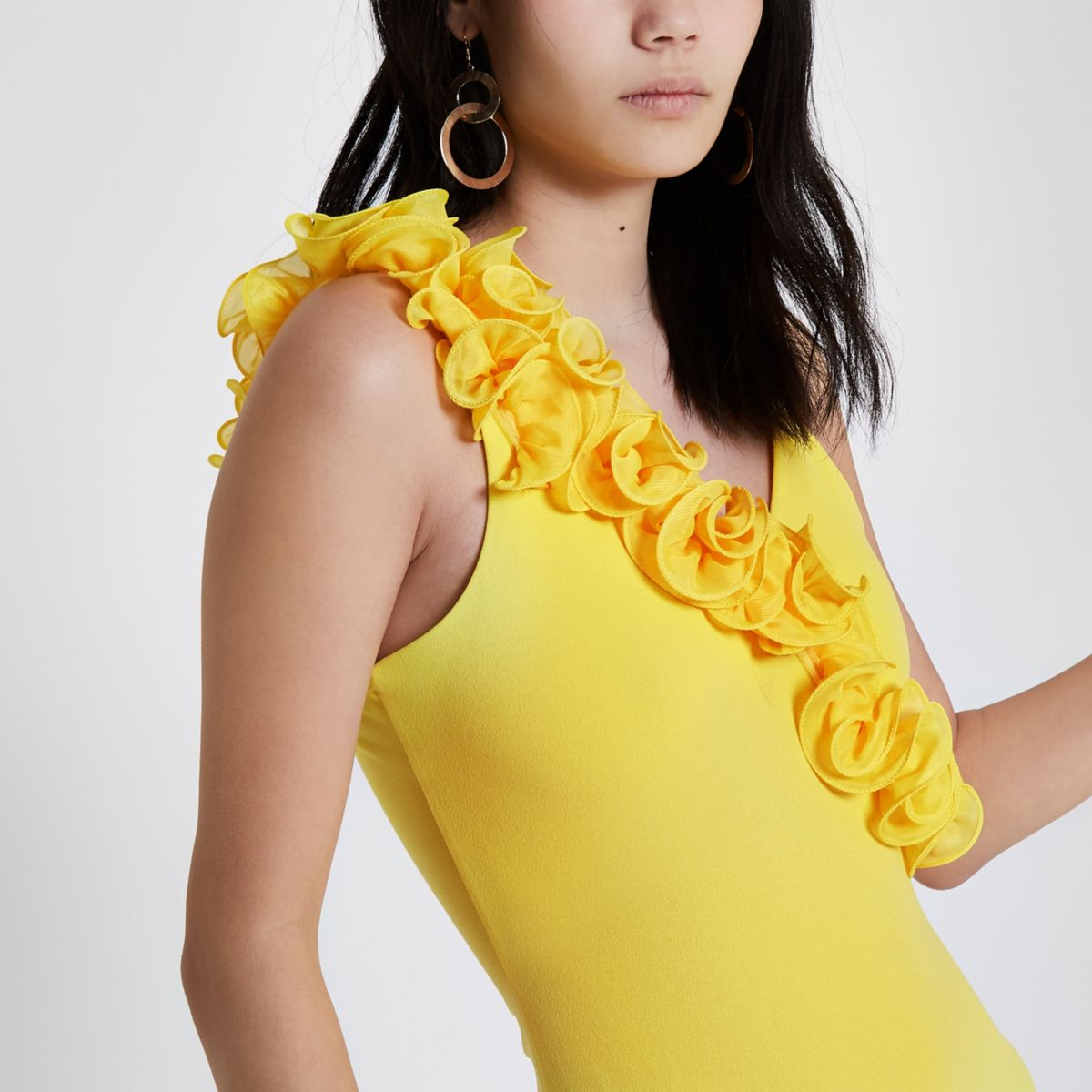 Yellow floral frill bodysuit