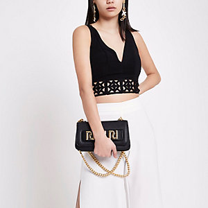​Black lace hem cropped bralet