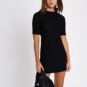 Black mix rib short sleeve bodycon dress