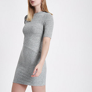 Grey mix rib short sleeve bodycon dress