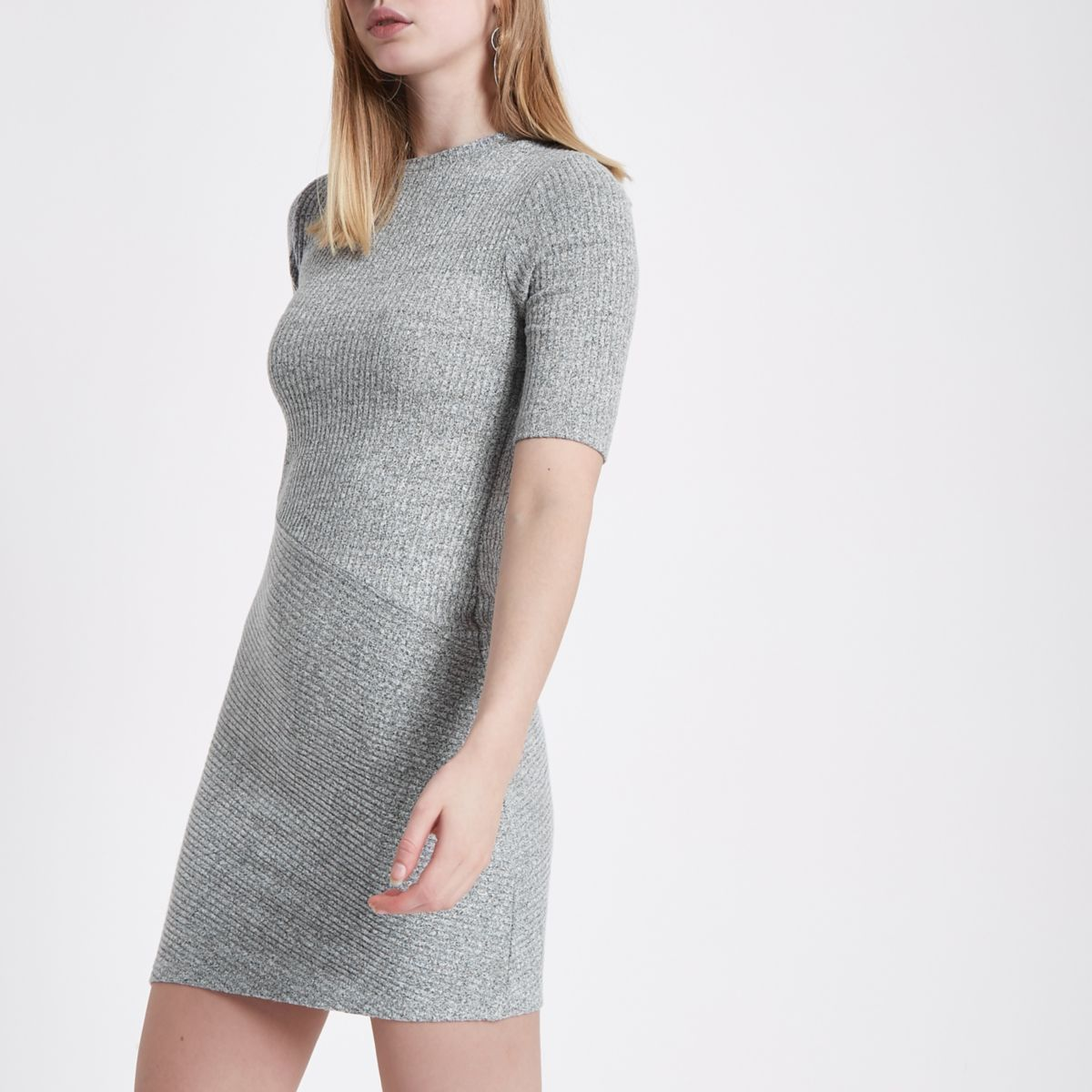 Grey mix rib short sleeve bodycon dress