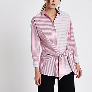 Pink mix stripe knot front shirt