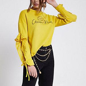 Geel sweatshirt met 'Amour'-print, broderie en ruches
