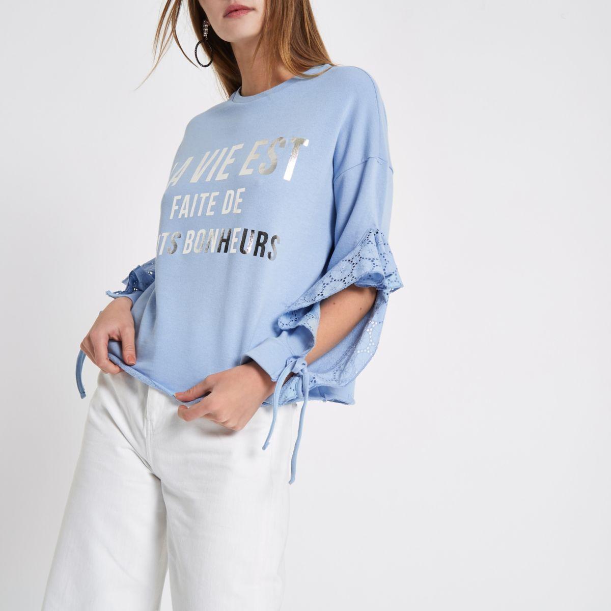 Blue 'la vie est' broderie frill sweatshirt