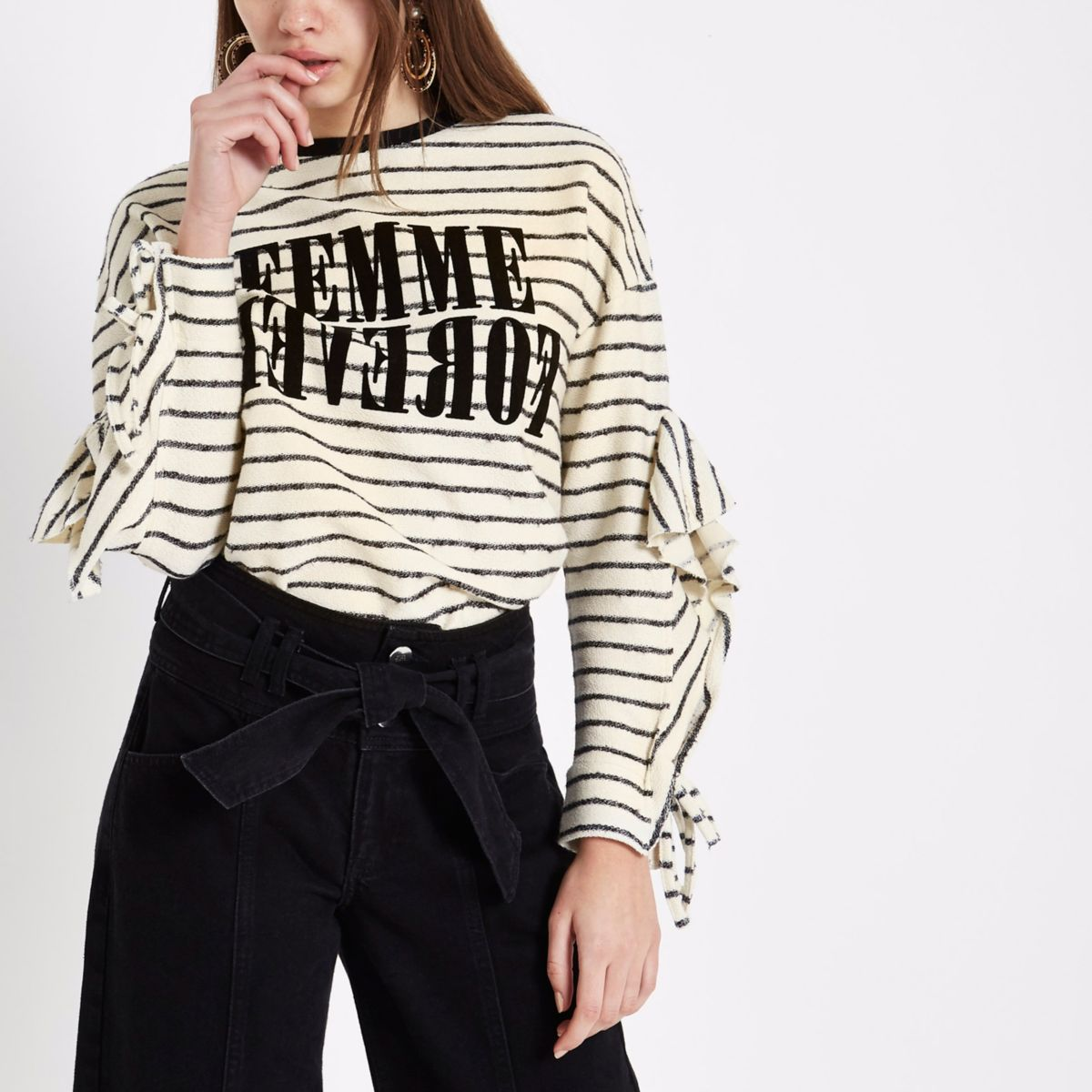 Cream stripe 'femme' frill sleeve T-shirt