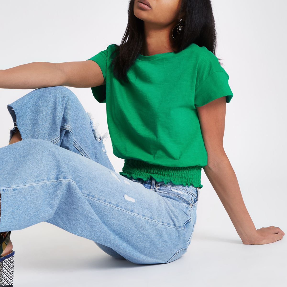 Green shirred hem T-shirt