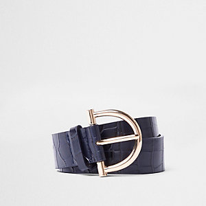 Navy croc embossed stirrup buckle jeans belt