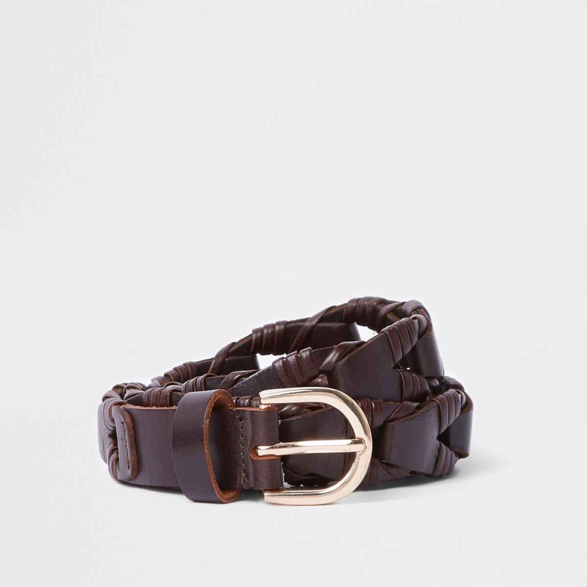 Brown woven leather chunky jeans belt