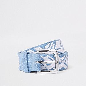 Ceinture en denim bleu clair brodée